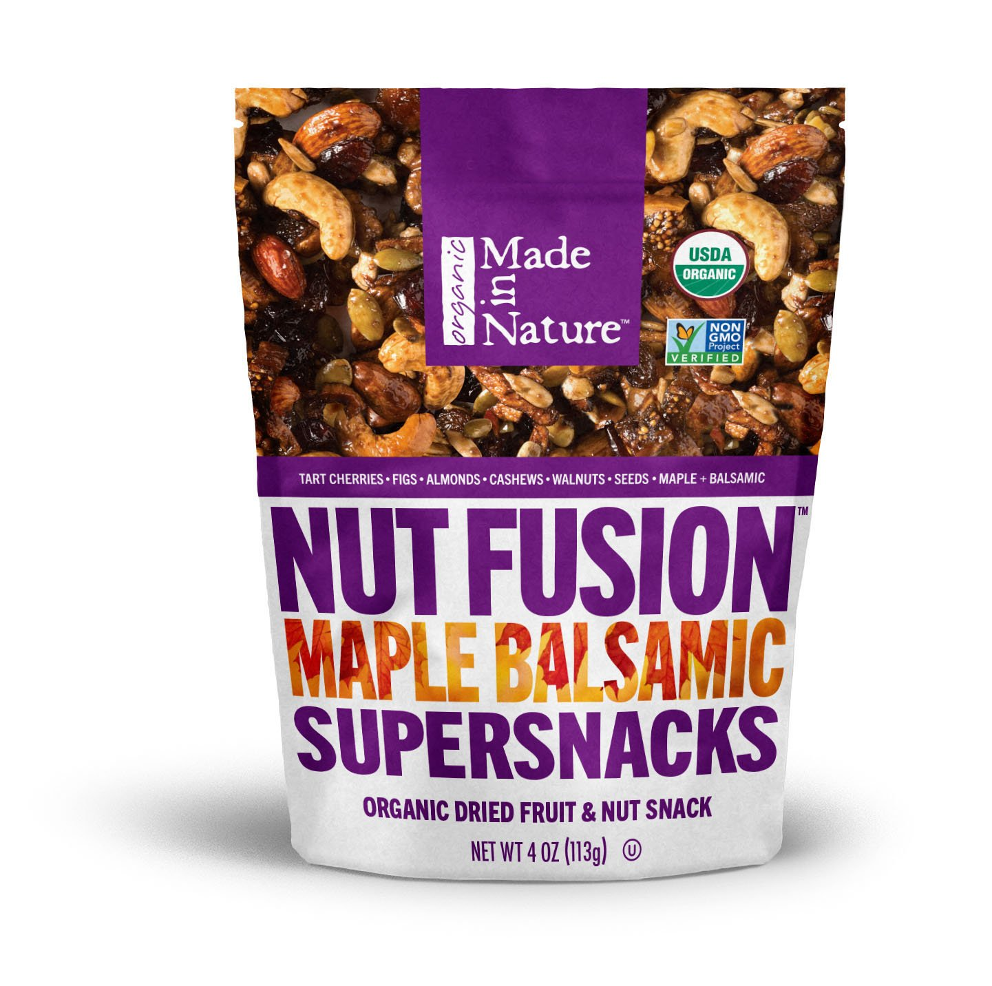 Made in Nature Organic Super Snacks, Maple Balsamic Nut & Fruit Fusion, A Sweet & Savory Blend of Cherries, Figs, Almonds, & Cashews with a Kiss of Maple Syrup & Balsamic Vinegar, 4 Ounce (Pack of 6)