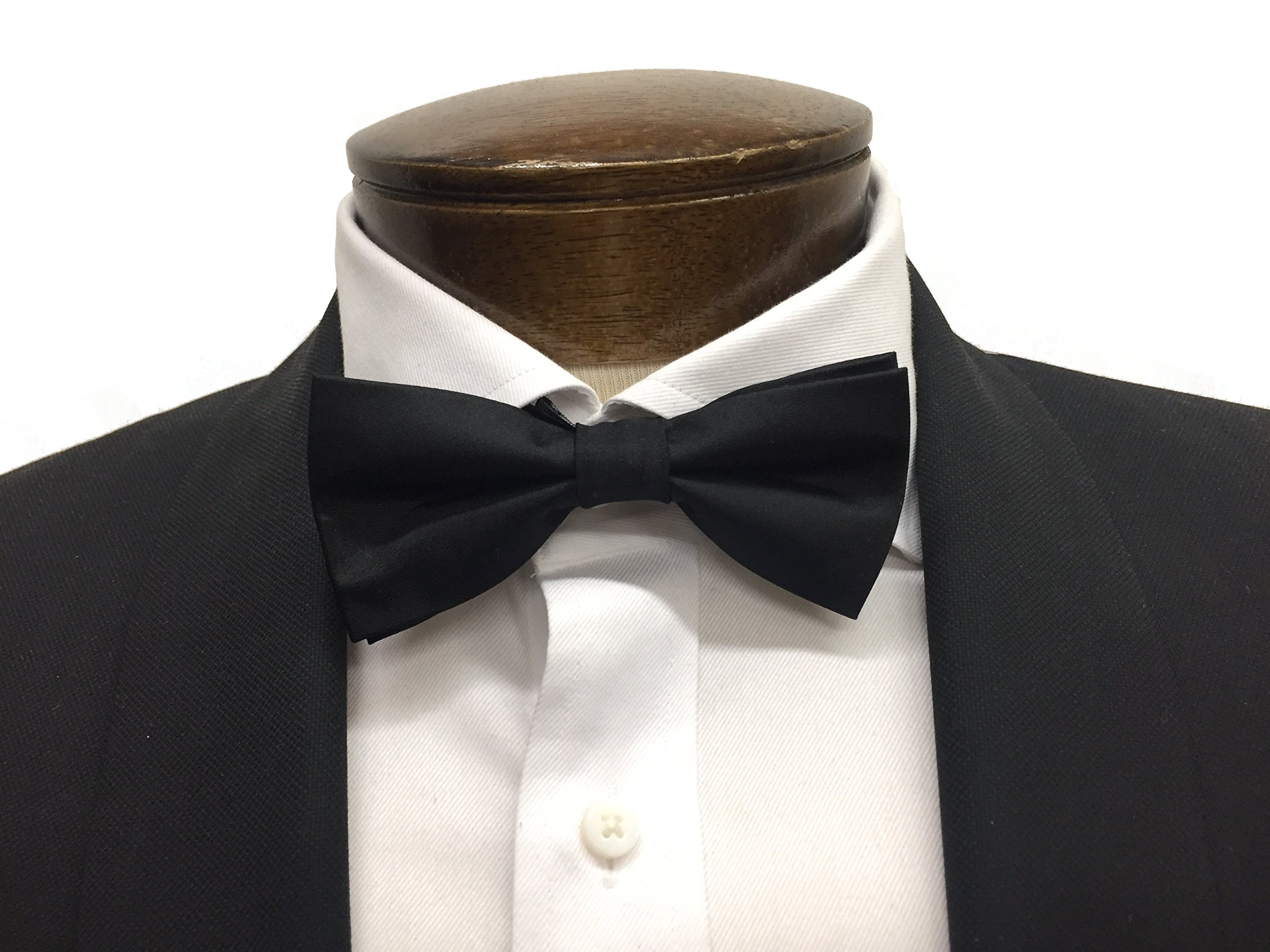 100% Black Satin Silk Bow Tie with Classic Modern Shape (Pre-Tied)