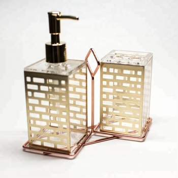 Made in Taiwan Acrylic Mold Injection Bathroom Set with Gold Block Pattern
