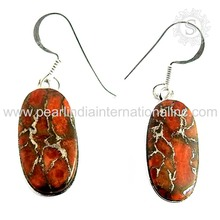 Sensational orange copper turquise gemstone silver earring offers 925 sterling jewelry solid silver earrings