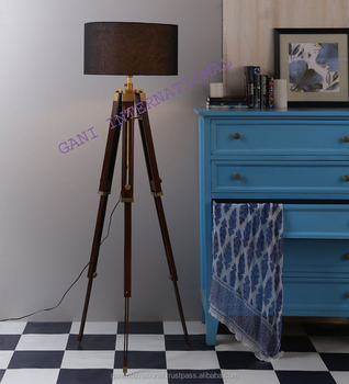 Antique royal nautical tripod floor lamp with wooden stand view antique royal nautical tripod floor lamp with wooden stand mozeypictures Images