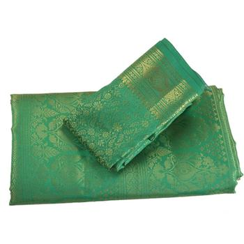 Sanskriti New Brocade Woven Art Silk Sari With Blouse Piece Floral Green Indian Saree
