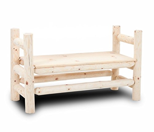 Rustic Log Boot Bench Solid Pine Furniture bed cabin decor (Walnut)