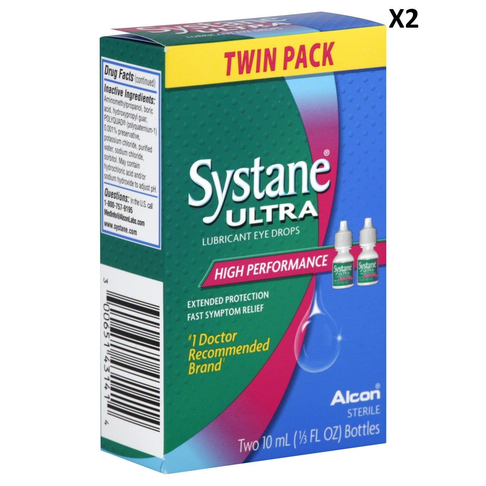 Systane Ultra Lubricant Eye Drops, 0.33 fl oz (10 ml) Bottle (2 Count)