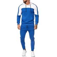 Mens Slim Fit Track ชุดกระชับ Fit Distressed Blue สี Joggers Hooded Tracksuit กับกระเป๋า