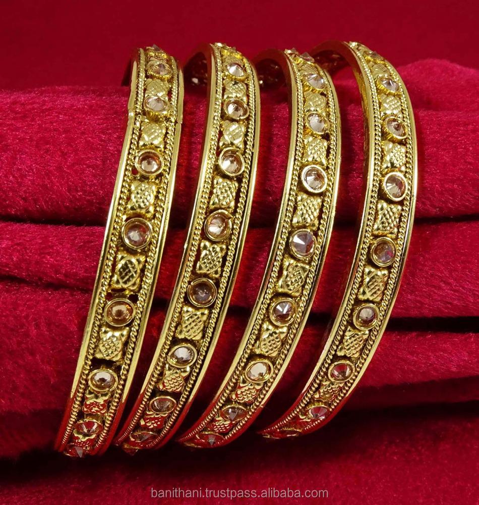 KJ15-PAR Traditional 2  Goldtone Bangles Set Women Designer Bracelet Jewellery
