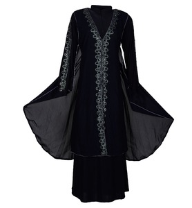 Black Color Casual Wear Silver Diamond Stone Work Islamic Wear Burkha Abaya Designs 2017 (dubai abaya 2017)