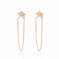 New Fashion Star Design Push Back Thread Earring Wholesale Handmade 925 Sterling Silver Jewelry Chain Earrings