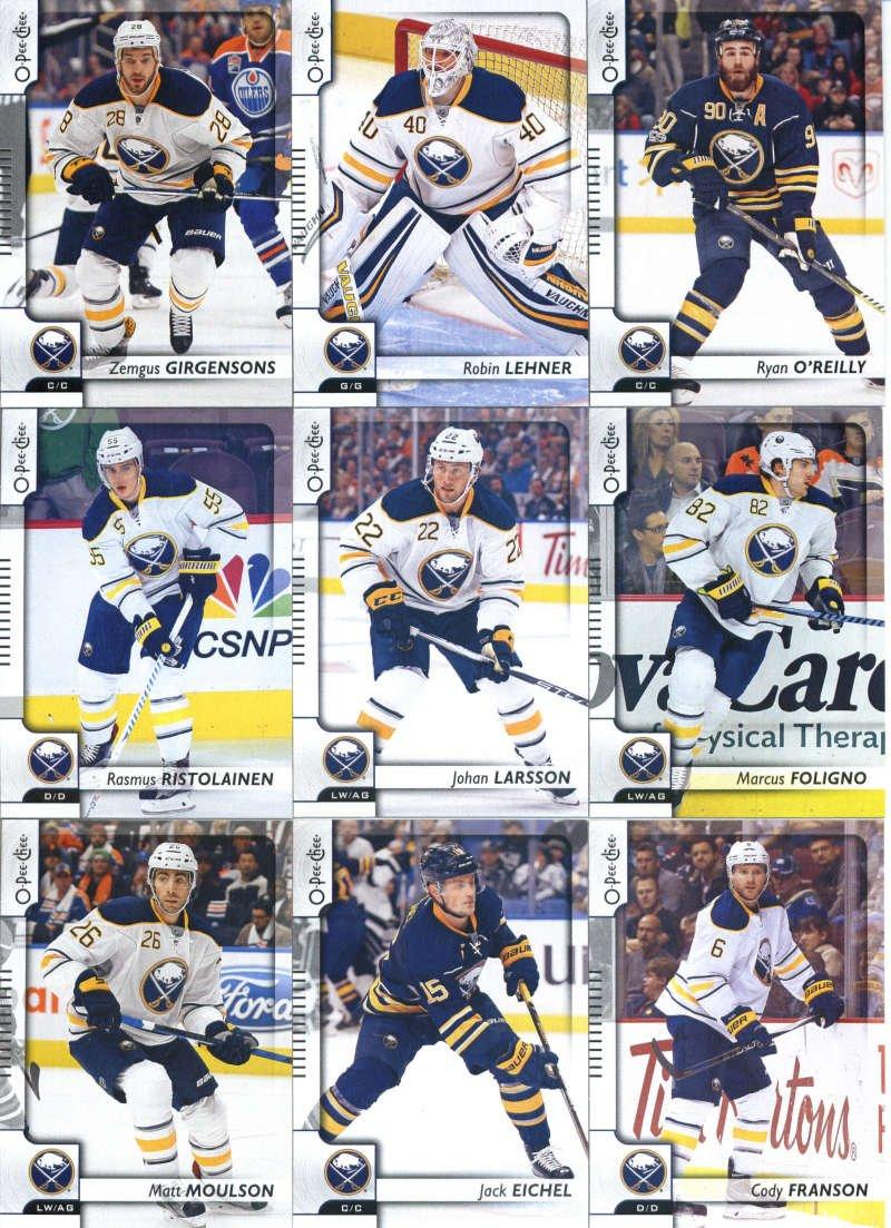 2017-18 O-Pee-Chee Hockey Buffalo Sabres Team Set of 15 Cards: William Carrier(#21), Sam Reinhart(#68), Evander Kane(#82), Brian Gionta(#153), Kyle Okposo(#186), Jake McCabe(#204), Matt Moulson(#239), Jack Eichel(#269), Rasmus Ristolainen(#316), Cody Franson(#322), Johan Larsson(#336), Marcus