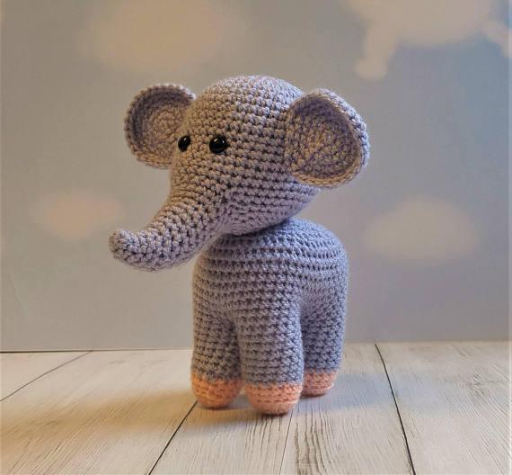 Amazon.com: Crochet Elephant Plush Toy: Handmade | 528x570