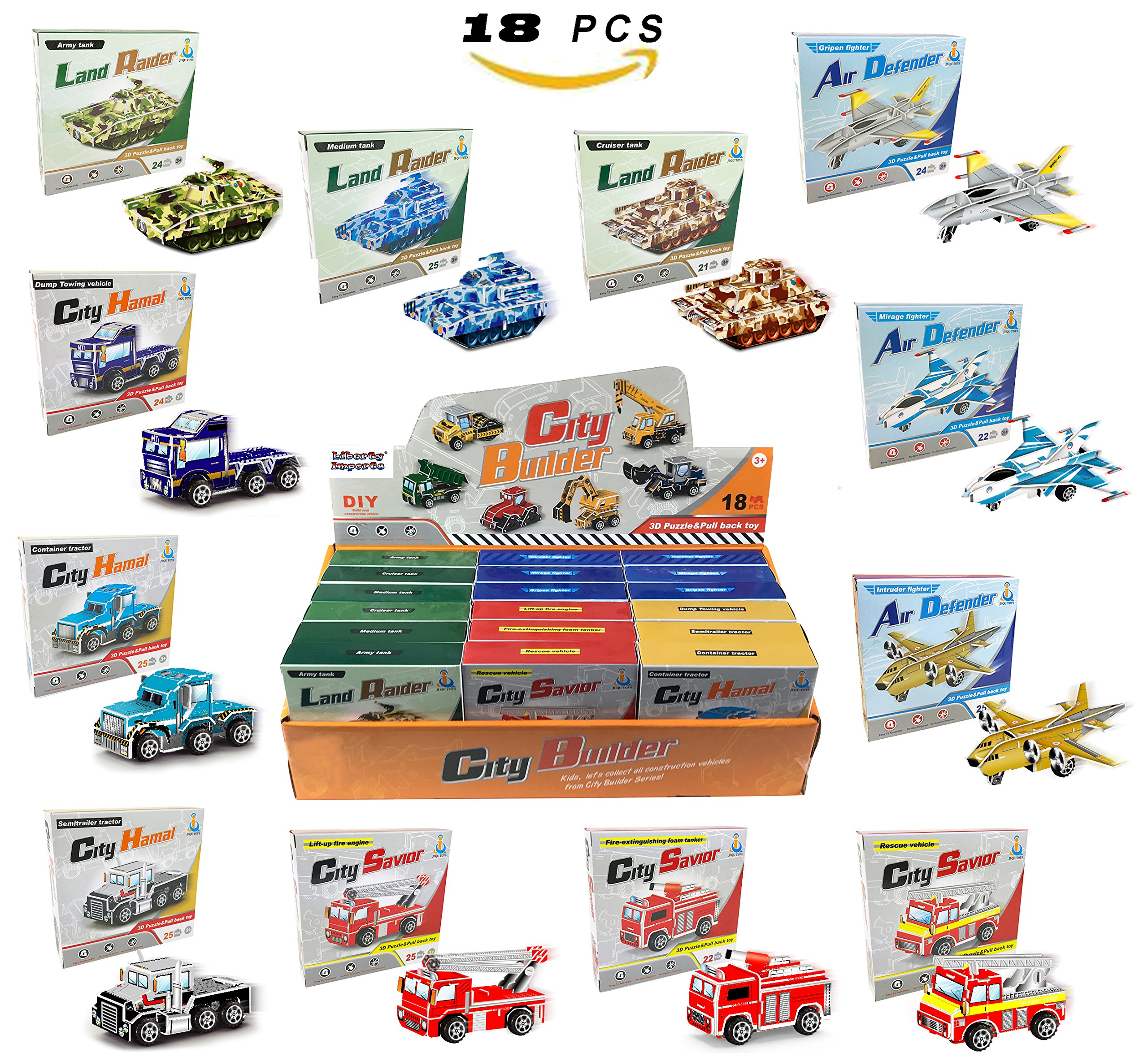 Liberty Imports Set of 18 Pullback Vehicles | STEM Building 3D Puzzle Car Model Kits Assortment | Educational DIY Party Favors for Kids (Tanks, Planes, Fire Trucks, Transporters)