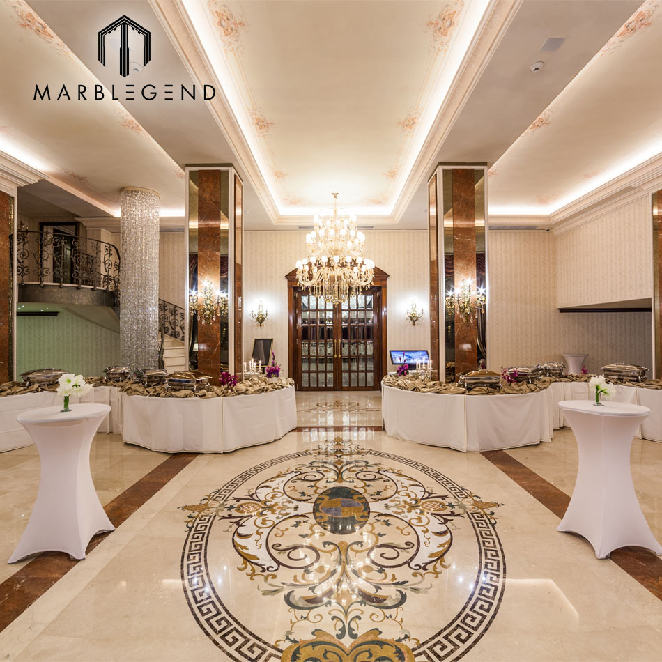 Luxury Hotel Interior Design Marble Floor Medallions Le Chateau Palace Lobby Cream Marfil Marble Waterjet Medallion Project