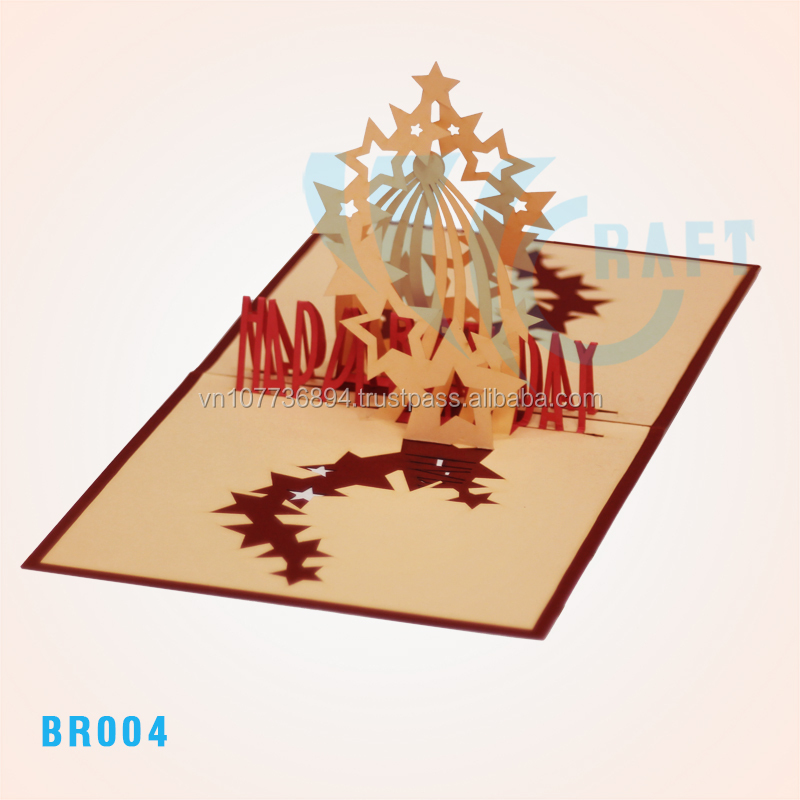 STAR Birthday 3d Greeting Card Handmade Vietnam Pop Up Cards