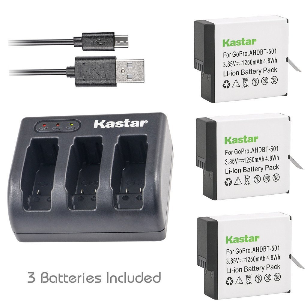 Kastar Battery (3-Pack) & USB Triple Charger for GoPro HERO6, Hero 6 Black, Gopro6, AABAT-00, 601-10197-000 and GoPro AHDBT-601, AHBBP-601 Sport Camera