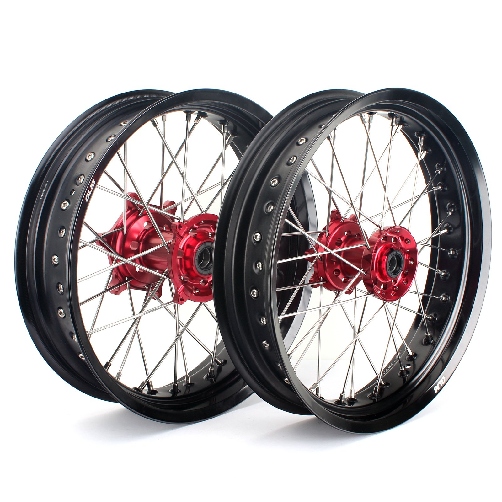 """TARAZON 17"""" & 17"""" Supermoto Complete Wheel Set Red Hubs Black Rims for Honda CRF250R 04-13 CRF450R 02-12 CRF250 X 04-16 CRF450 X 04-16 CR125R CR250R 02-13 Front and Rear wheels"""