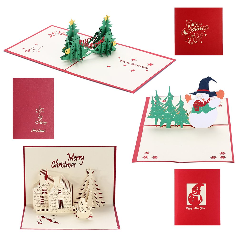 christmas cards 3d pop up holiday greeting card for xmasthanksgivingnew year