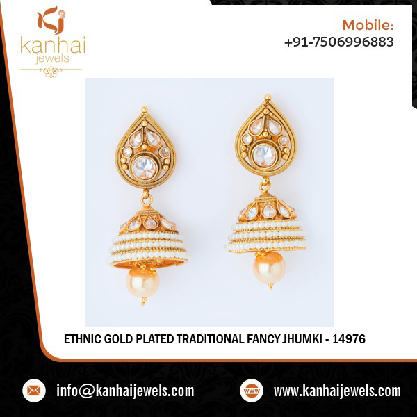 Ethnic Gold Plated Traditional Fancy Jhumki - 14976