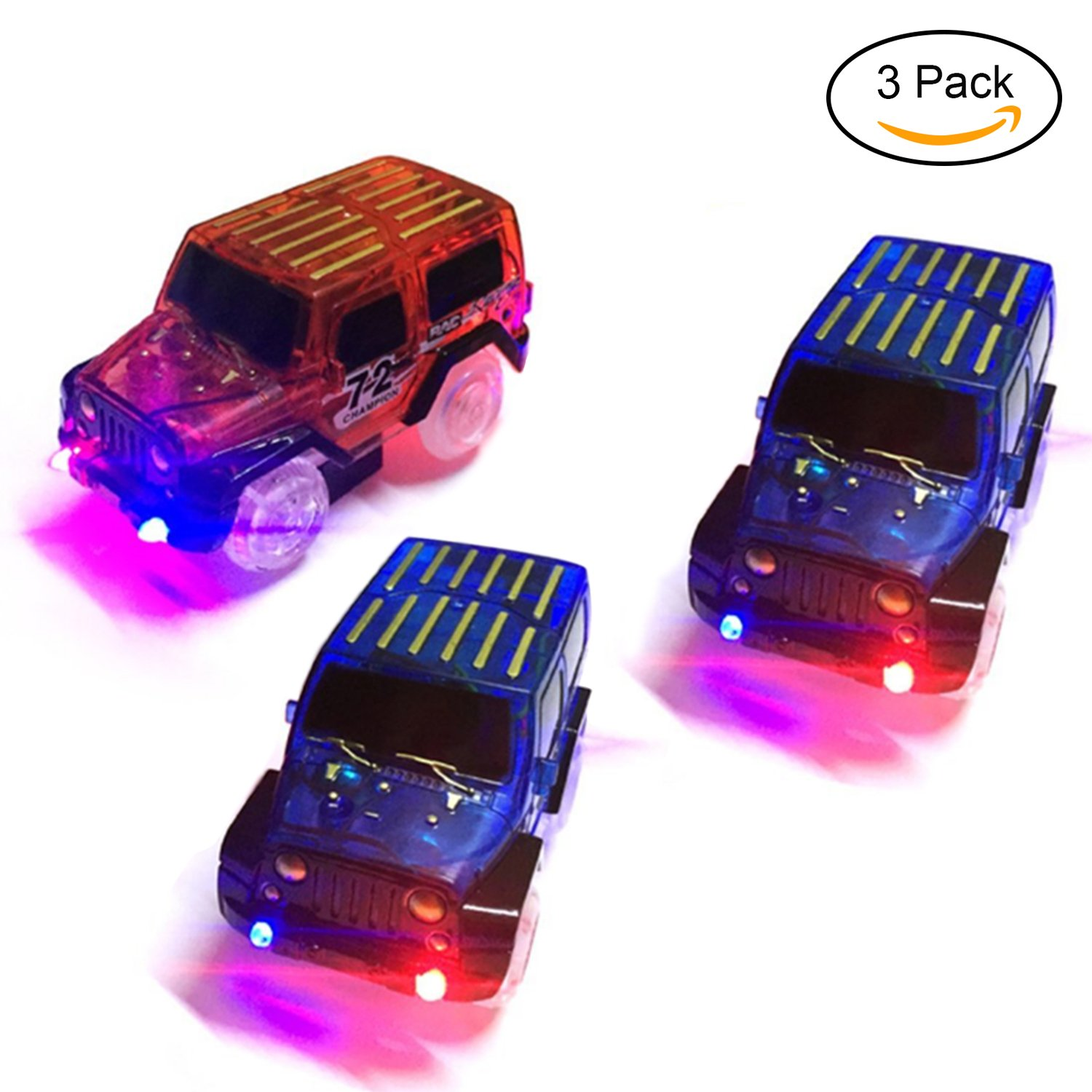 Get Quotations Tslikando Car Track Replacement Toy 3 Pack Glow In The Dark Racing