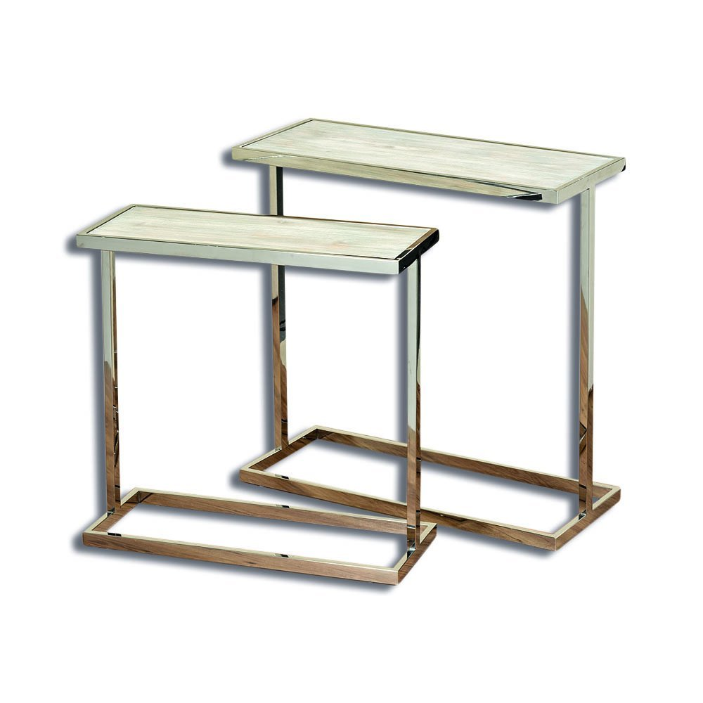 The Crosby Street Side Tables, Set of 2, Polished Stainless Steel Frame with Bleached Driftwood-Gray Pine Inset, 27 and 31 Inches, By Whole House Worlds