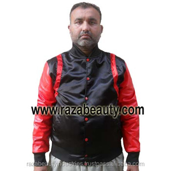 Black & Red Satin Varsity Jackets, Custom Embroidery Satin Baseball Jackets, Satin Bomber Jackets