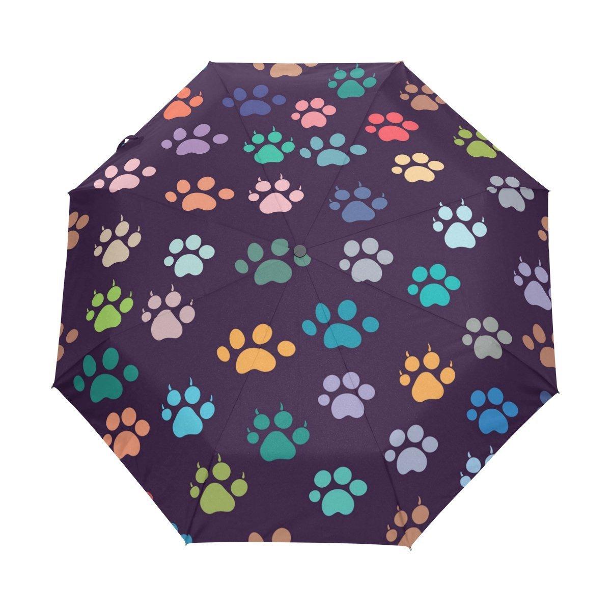 WOZO Animal Footprint Dog Paw 3 Folds Auto Open Close Umbrella