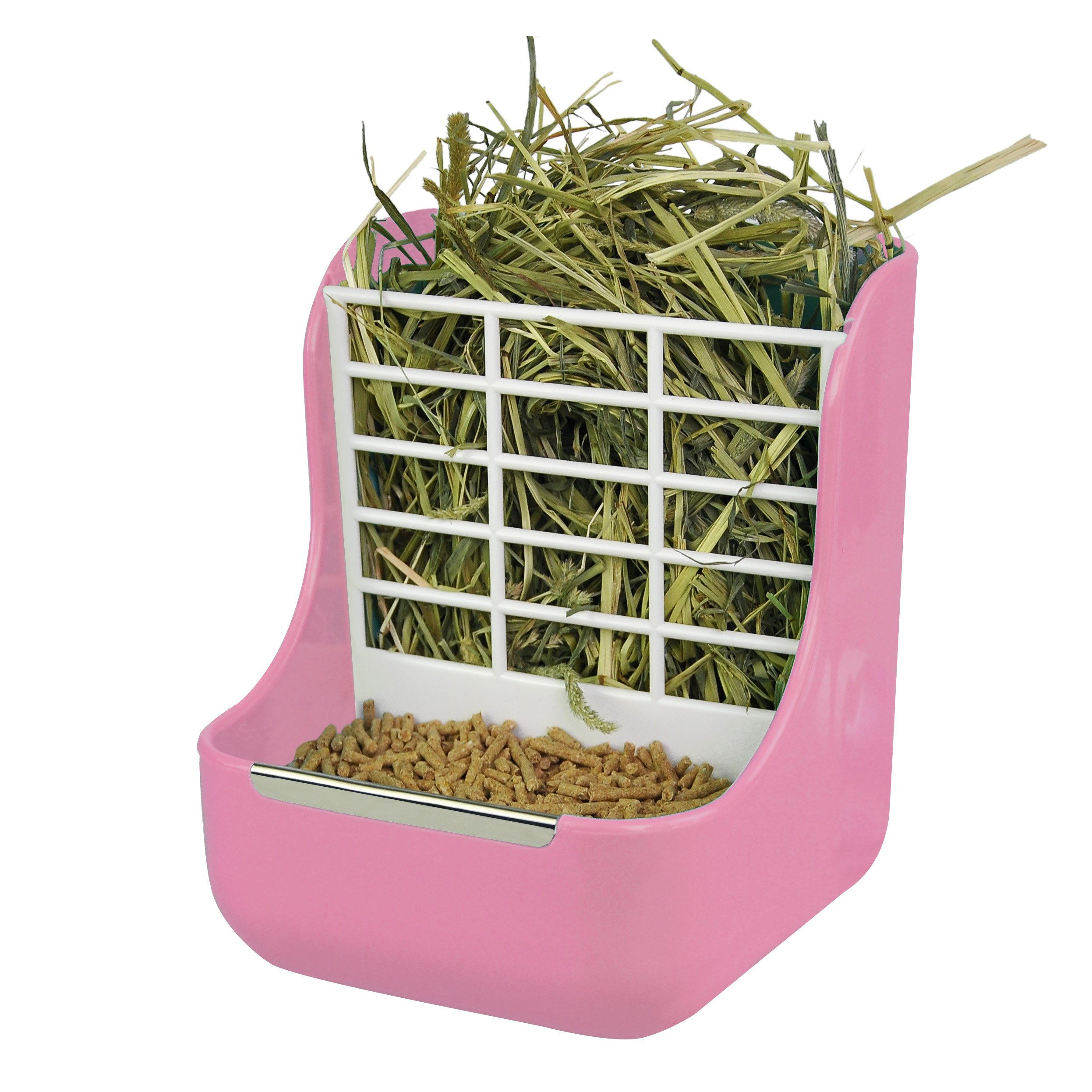 Niteangel 2 in 1 Hay Feeder Manger, Feeder Bowls Double Use for Grass & Food