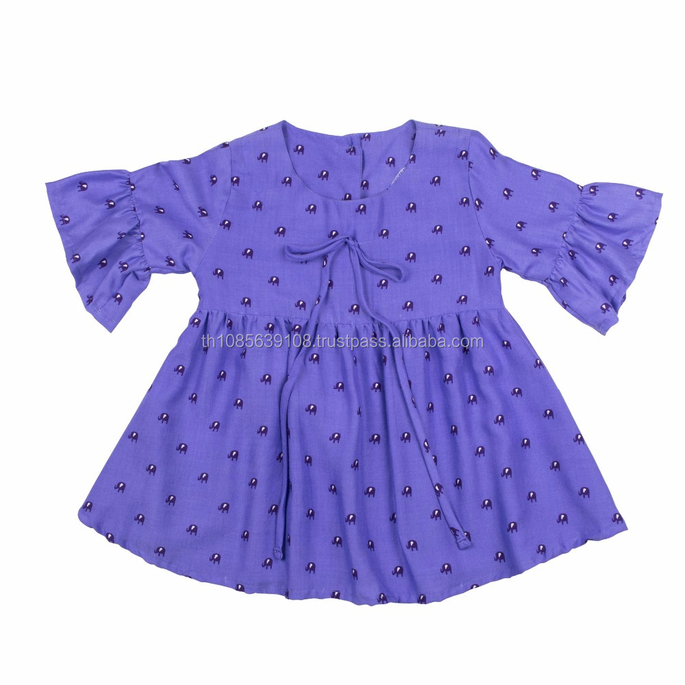 Lofbaz Girls Elephant Printed Rayon Half Sleeve Violet Cute Dresses