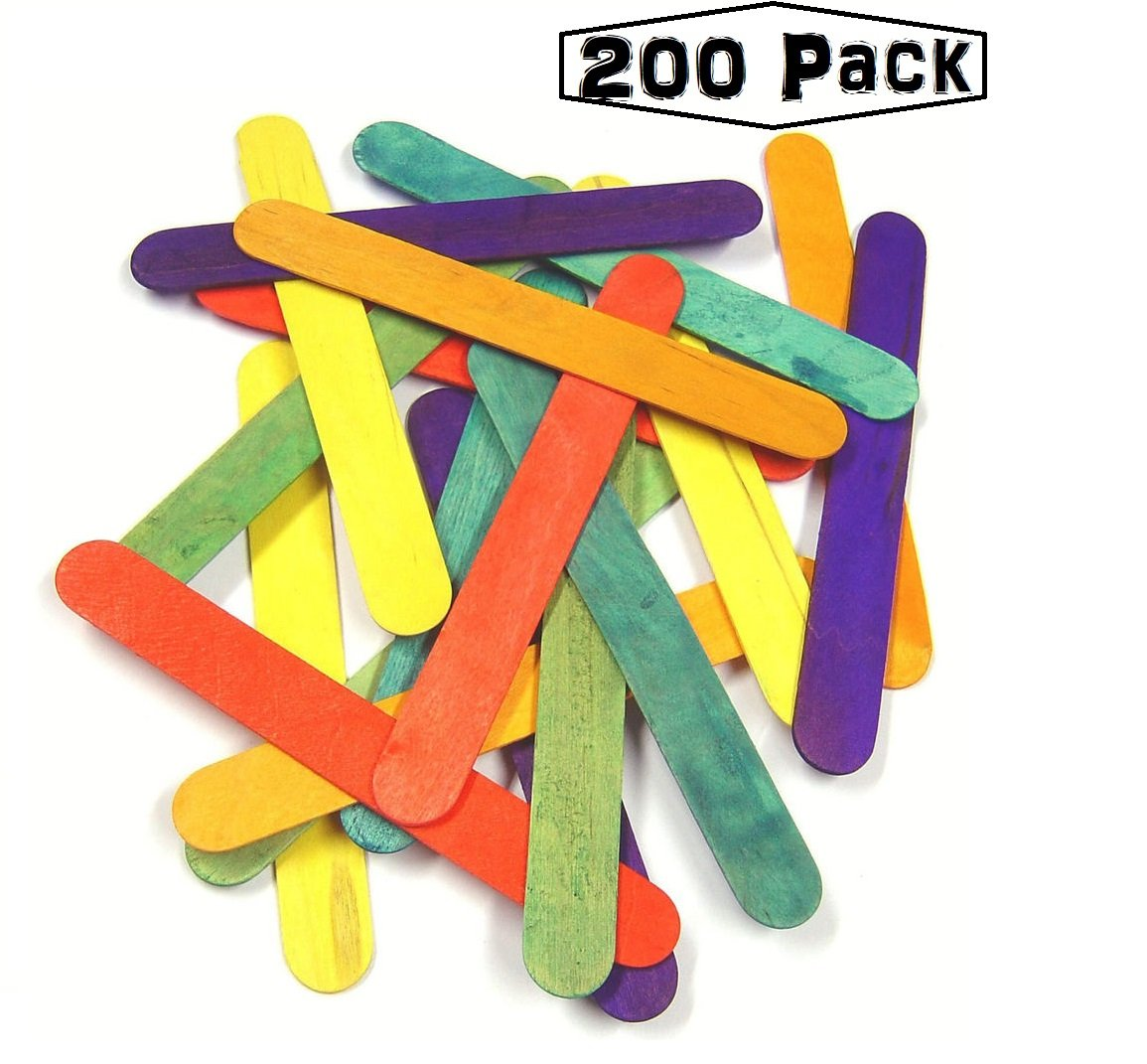 Jumbo Popsicle Sticks - Wooden Colored Craft Sticks/Stix - 200 Pack Large Assortment Pop Sticks – Great for Kids, DIY Projects, School Supplies, and Crafting - by Kidsco