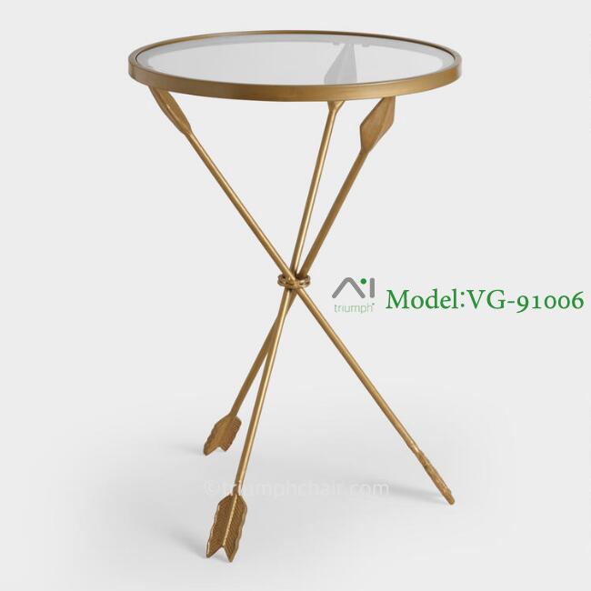3pc Black Temper Glass Tops Metal Legs Coffee Table W: Triumph Gold Metal Arrow Leg And Temper Glass Top Accent