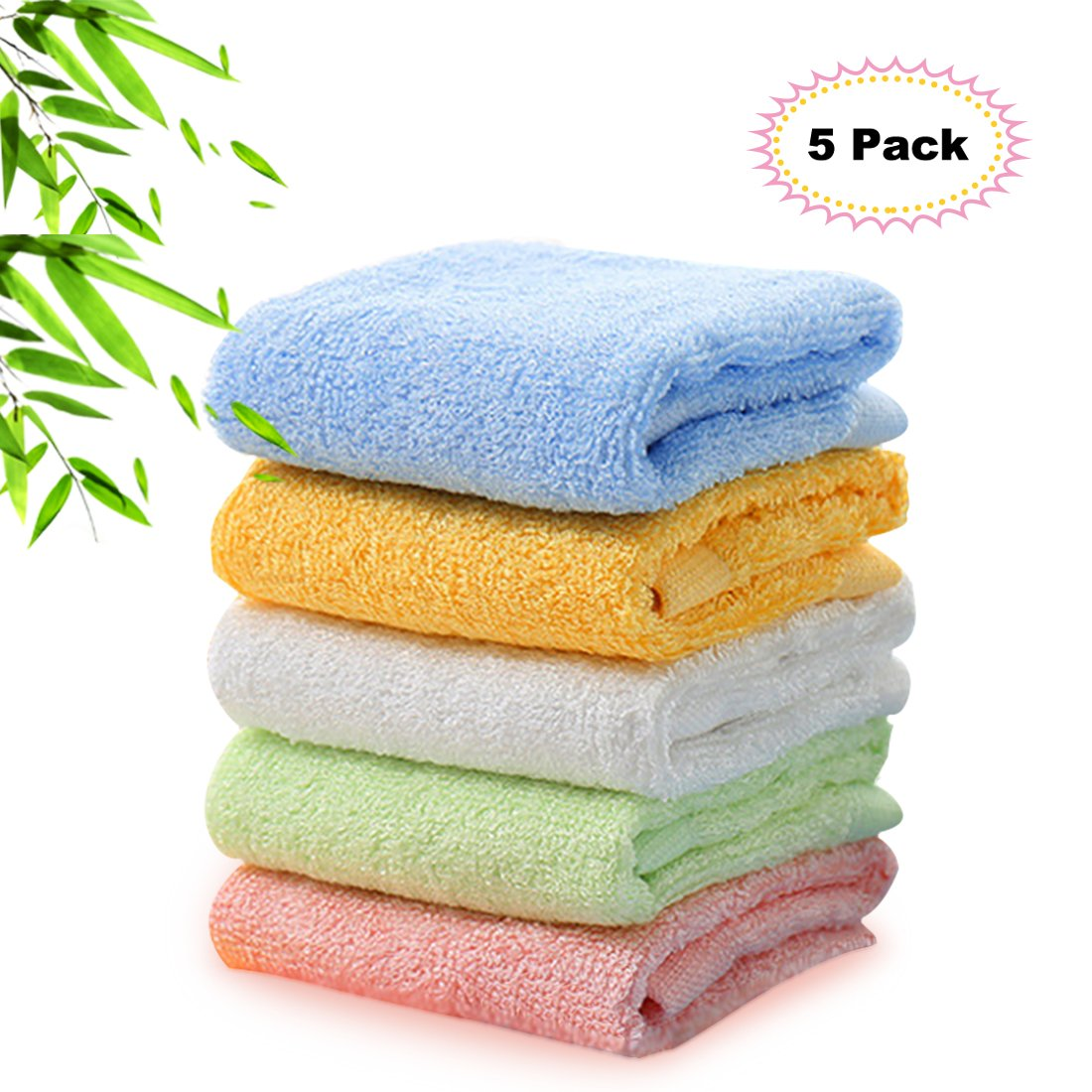 Kyapoo Bamboo Baby Washcloths Natural Face Towels Ultra Soft Hypoallergenic Perfect for Sensitive Skin Reusable Wipes 5 Pack