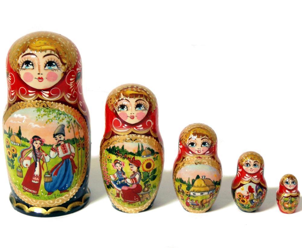 Alien 5-Piece Wood Nesting Dolls Set