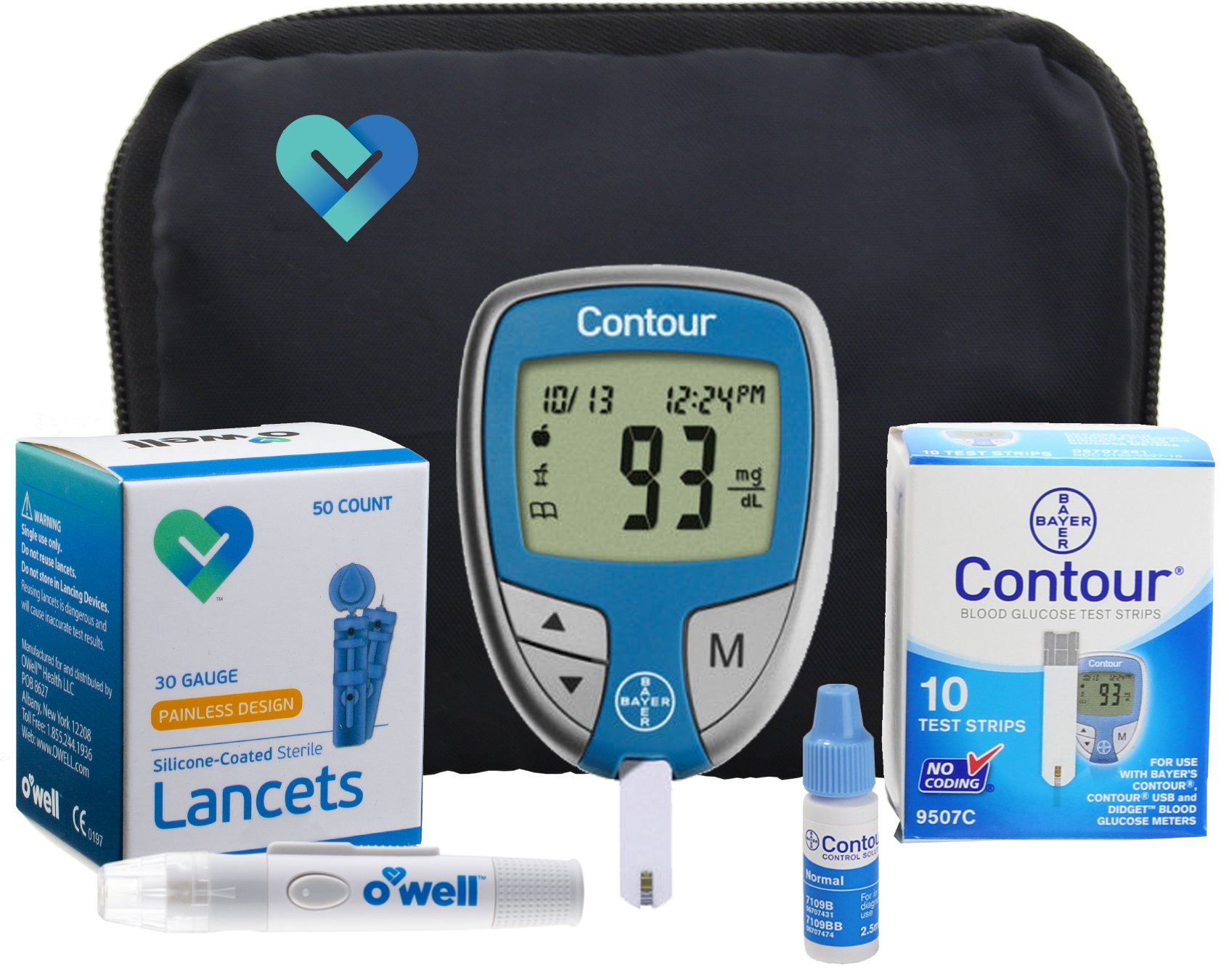 Contour Diabetes Blood Glucose Testing Kit - Contour Meter, 10 Test Strips, 50 OWell Lancets, OWell Lancing Device, Control Solution, Manual, Log Book & Carry Case