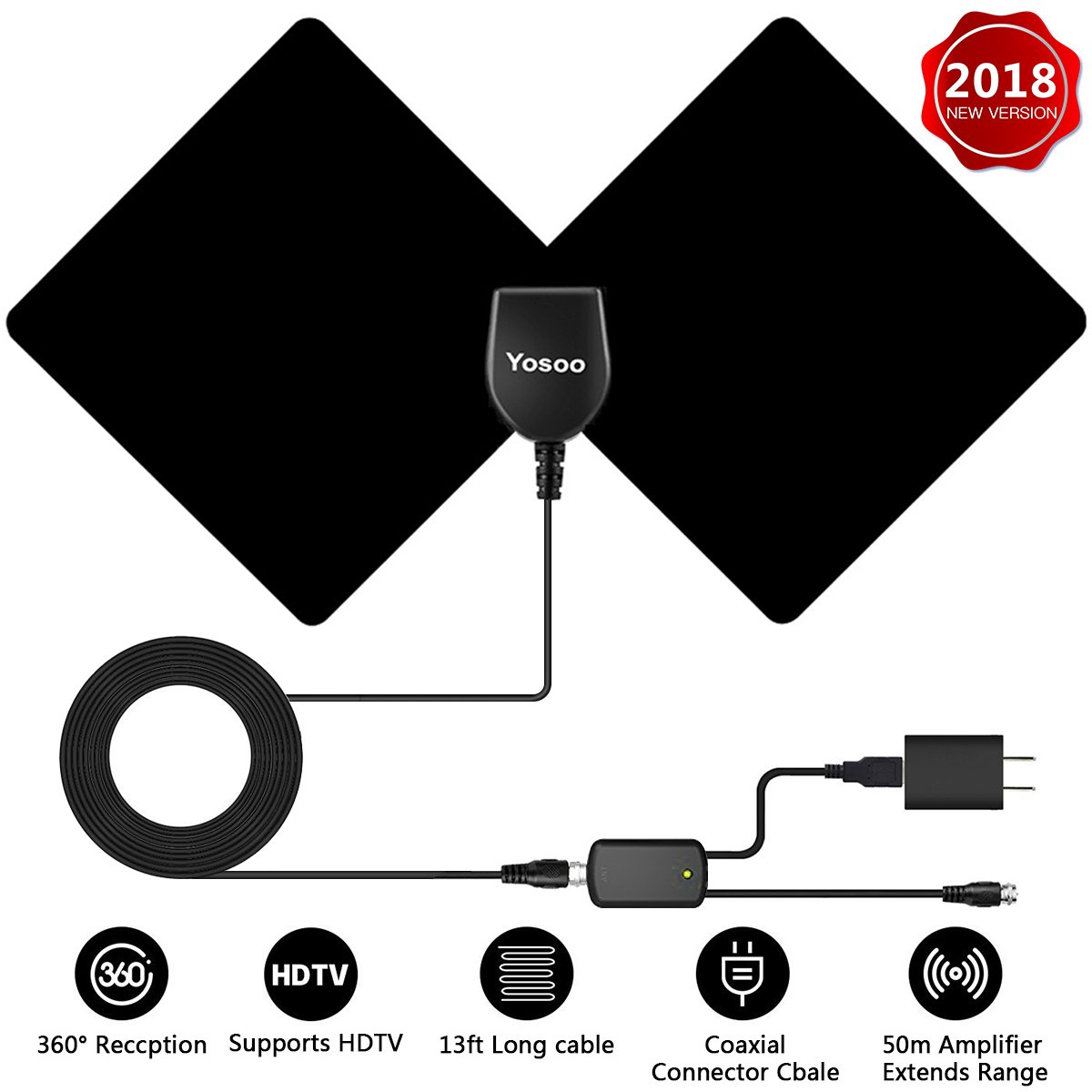 HDTV Antenna, Yosoo Indoor TV Digital Antenna 50 Mile Range with Detachable Amplifier Signal Booster, USB Power Supply and 13ft 1080P High Performance Coaxial Cable (Black)