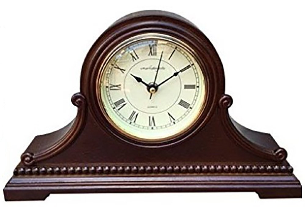 Mantel Clocks: Vmarketingsite Wood Mantel Clock with Westminster Chime. This Solid Wood Decorative Chiming Mantel Clock Is Battery Operated. Quiet, Shelf Mantel Clock Westminster Chimes On The Hour.
