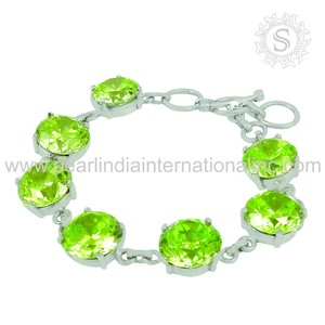 Green cz gemstone bracelets indian 925 sterling silver jewellery exporters wholesale handmade bracelets suppliers