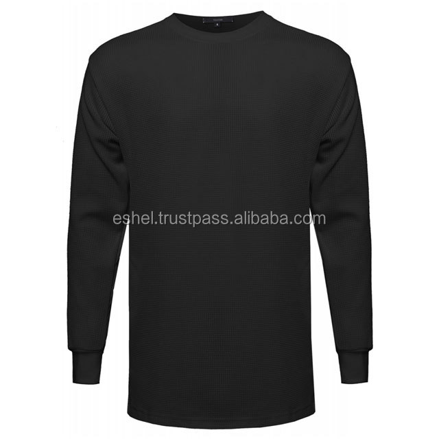 2018 Fashion Style 100% Organic Cotton Long Sleeve round Neck t shirt Extra Long Sleeve Blank Customized OEM Services Low MOQ