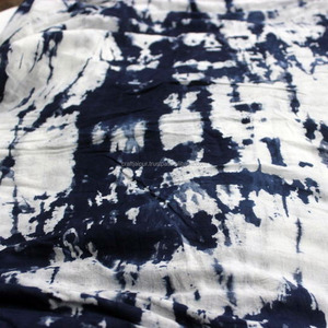 Beautiful shibori hand dyed cotton running indigo blue wholesale fabric