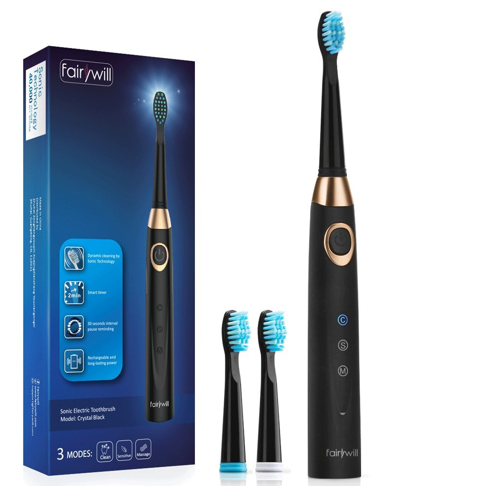 Fairywill Sonic Electric Toothbrush Black, Rechargeable Toothbrush for Adults, 3 Modes with 2 Min Build in Timer, Dentists recommend, Waterproof, Fast Charging, Model FW-508