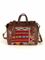 Leather travel Bag, Authentic genuine calfskin leather and kilim travel bag with copper accessories