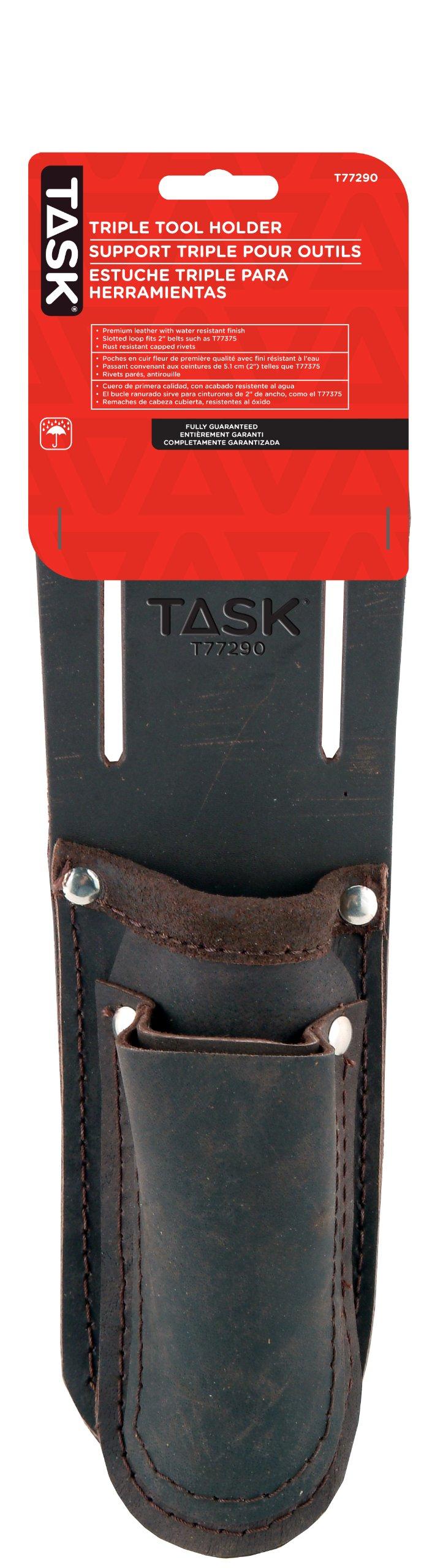 Task Tools T77290 Tradesperson's Leather Triple Tool Holder, 3-Pocket