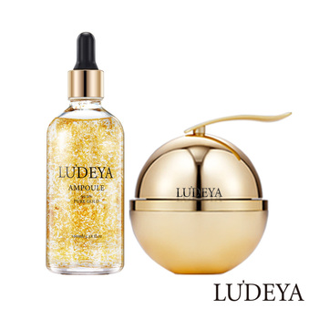 Taiwan Luxury LUDEYA Skincare Set Skin Care Products for Women with Repair Cream Moisturizer + 24K Gold Ampoule