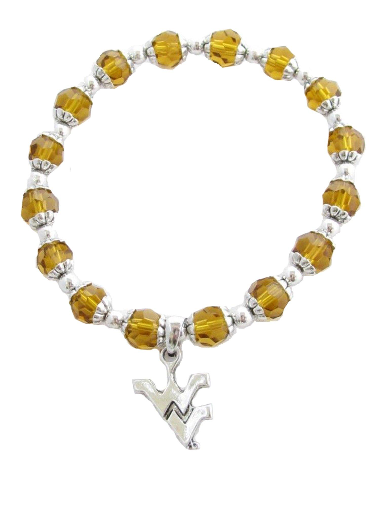 West Virginia Mountaineers Yellow Glass Bead Stretch Bracelet NCAA Fashion