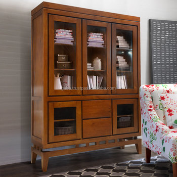 Cabinet Display Minimalist With Legs Natural Teak Wood Furniture,  Indonesian Wood Furniture Collection And Manufacturer