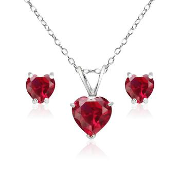 925 Sterling Silver Created Ruby Gemstone Heart Solitaire Necklace And Stud Earrings Set