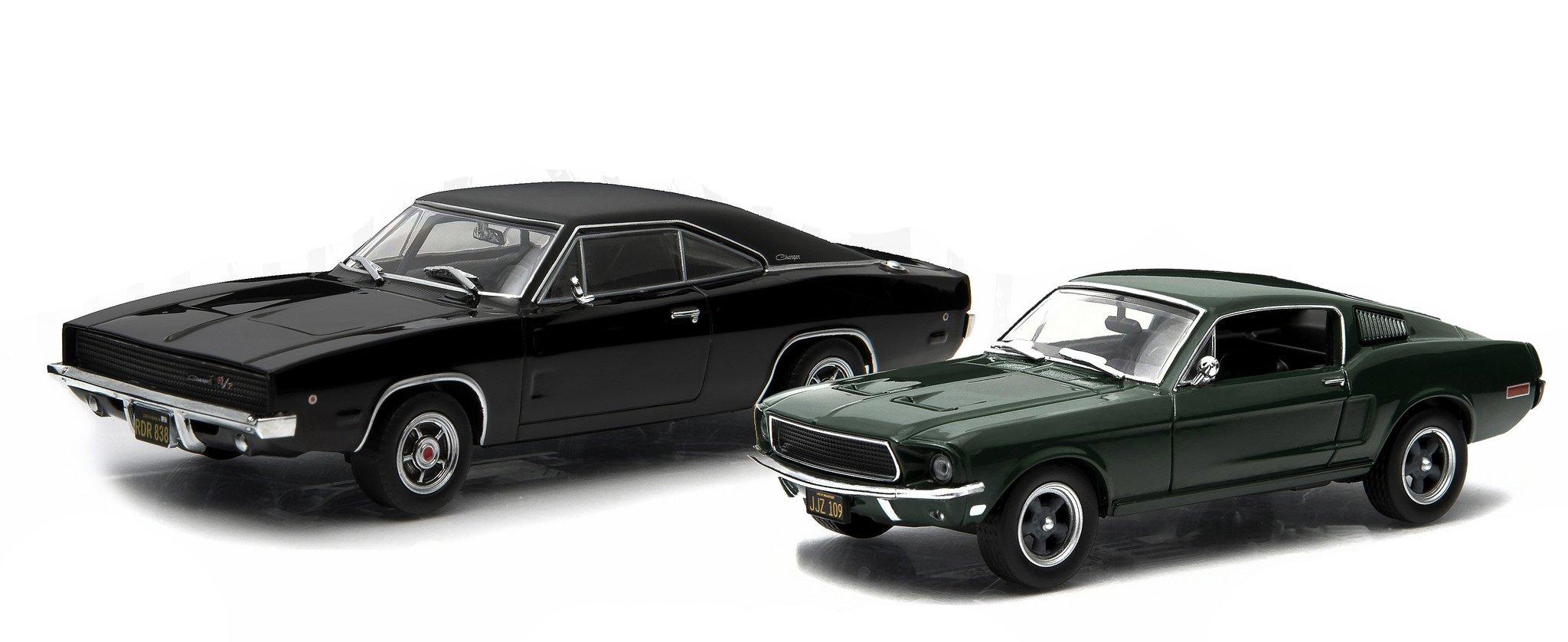 """1968 Ford Mustang GT Fastback Green Steve McQueen """"Bullitt"""" Movie (1968) & 1968 Dodge Charger Black R/T Steve McQueen """"Bullitt"""" Movie (1968) Set 1/43 by Greenlight 86431 & 86432"""