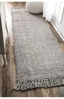 Hand Made Hemp Jute Runner Rug Natural