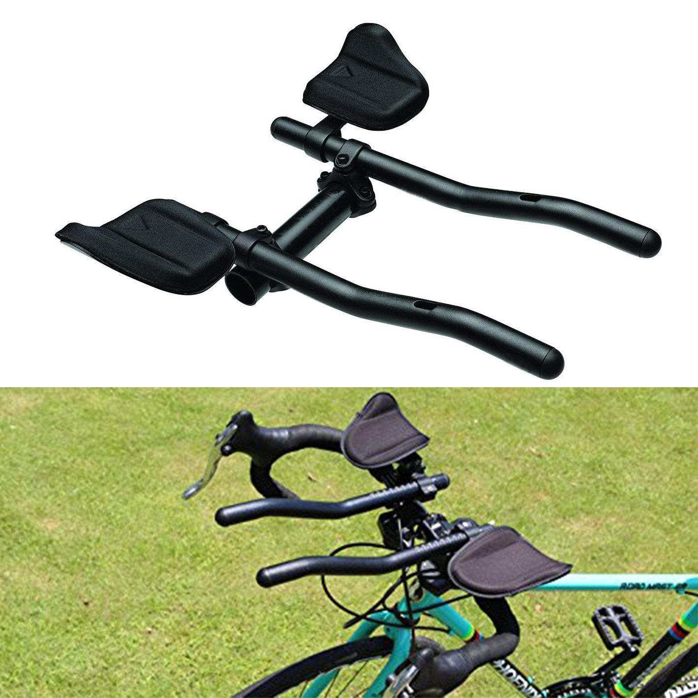 Triathlon Aero Bars hybike T1 Bicycle Clip-on TT Handlebar Tri Bars Cycling Rest Handlebar-- T-6061 Alloy handlebar extension for Moutain Bike or Road Bike