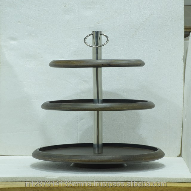 Wooden Cake Stand With Galvanized Base