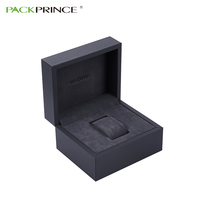 Luxury Matte Black Display Packaging With Velvet Pillow Customized Solid Paper Cardboard Men Single Watch Wrist Box