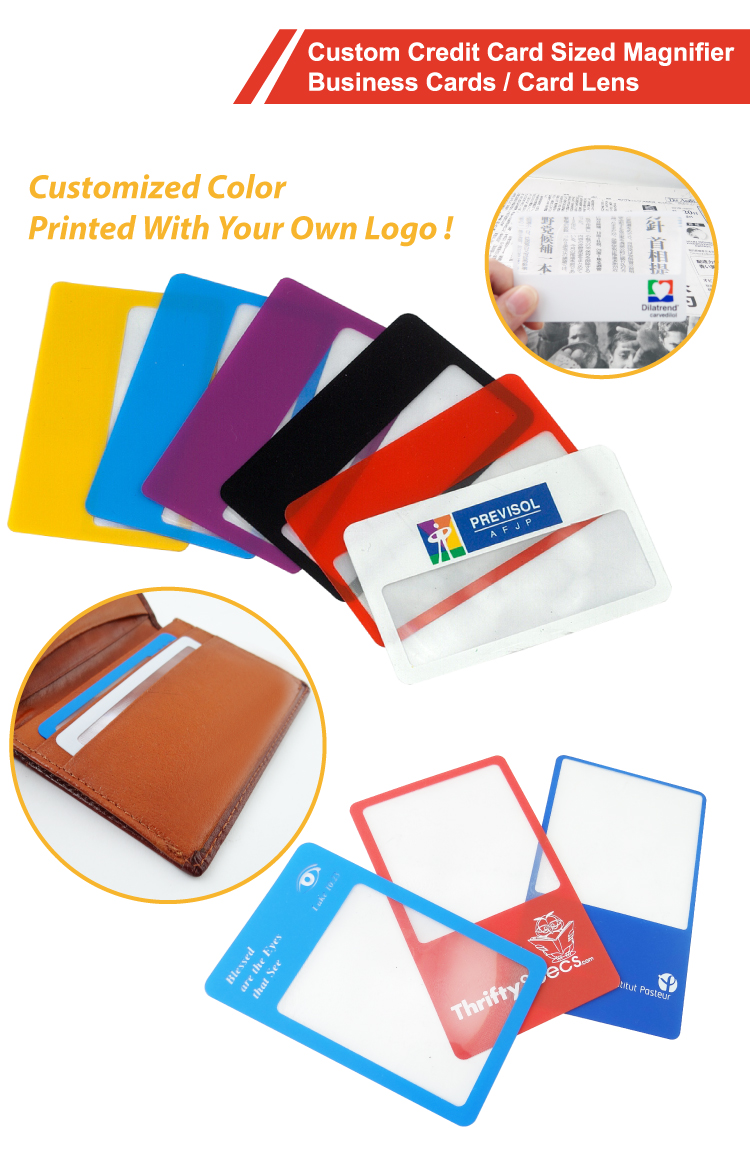 Custom Plastic Business Cards Magnifier / Credit Card Size ...
